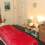 Cosy therapy room, ready for a treatment